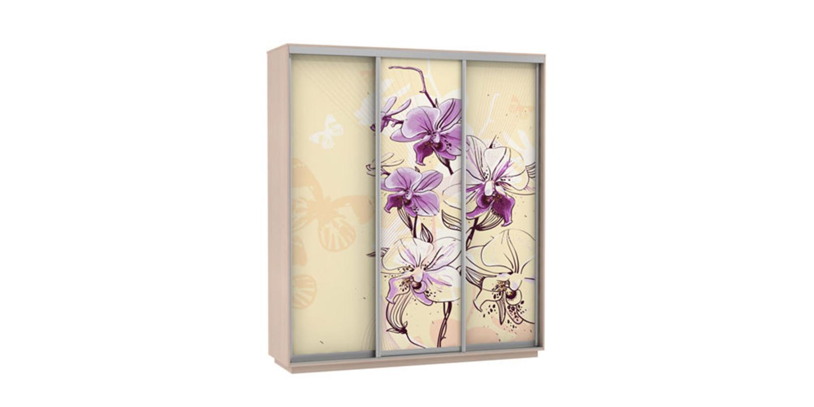Шкаф-купе трехдверный Байкал 210 см (дуб молочный/орхидея)