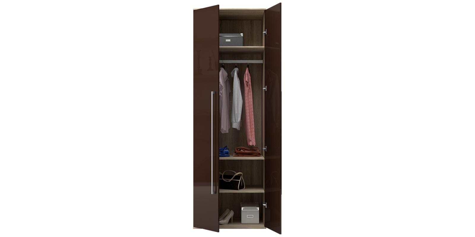 Шкаф распашной двухдверный Бали вариант №1 (шоколад глянец/дуб сонома) от HomeMe.ru