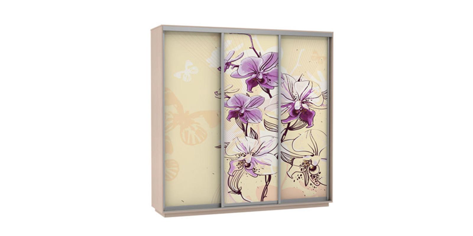 Шкаф-купе трехдверный Байкал 240 см (дуб молочный/орхидея)