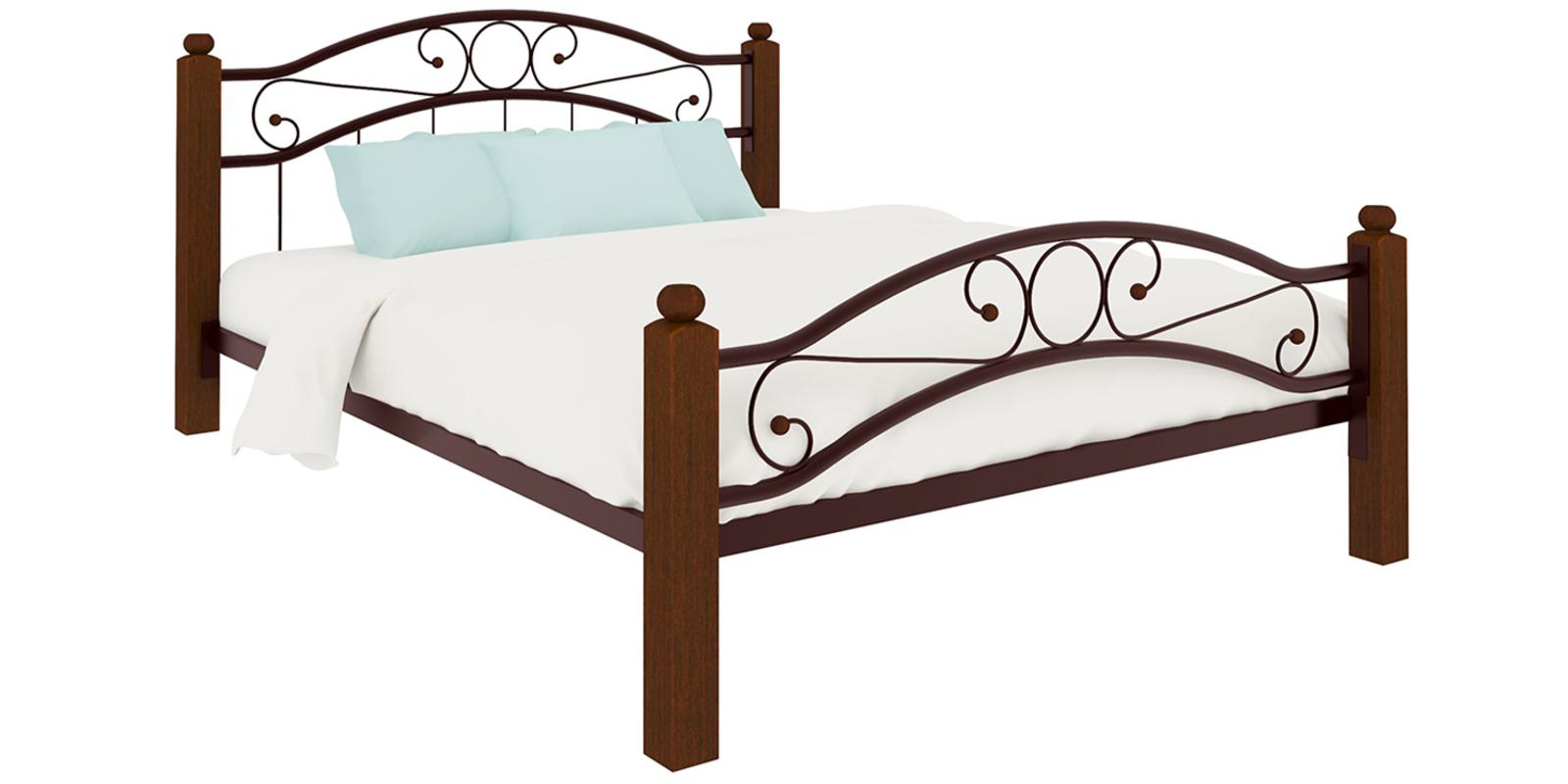 Кровать металлическая Лозанна Lux Plus без подъемного механизма (коричневый)