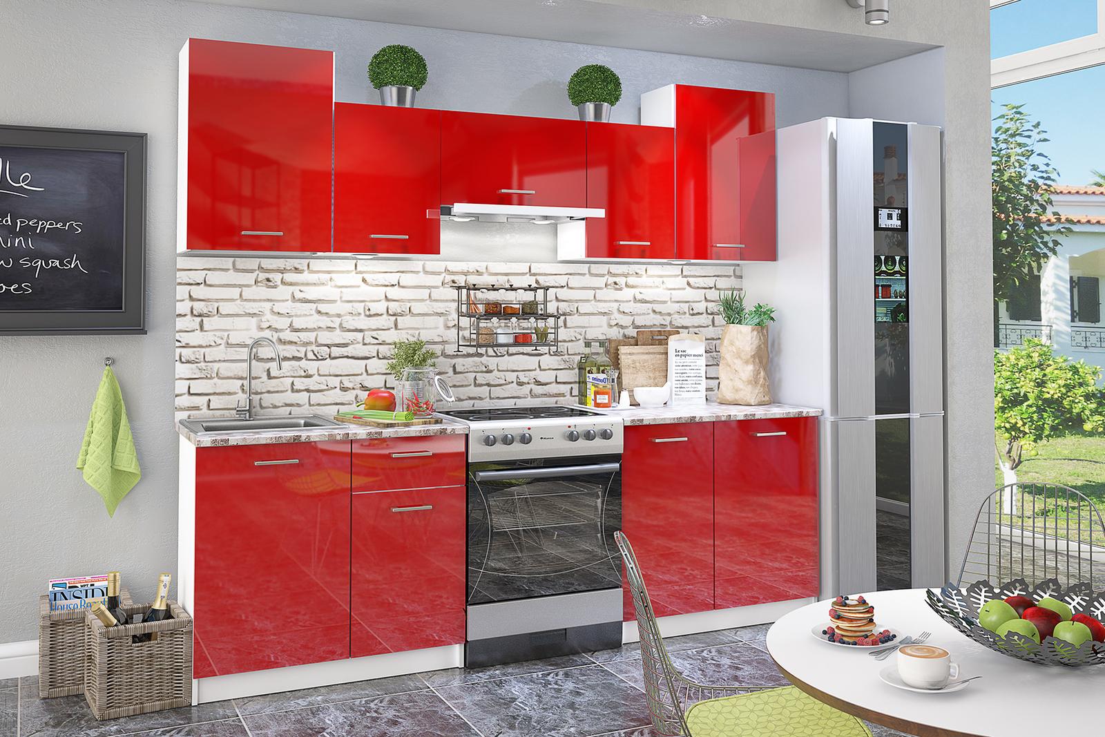 Кухонный гарнитур Вена 240 см (белый/красный глянец)