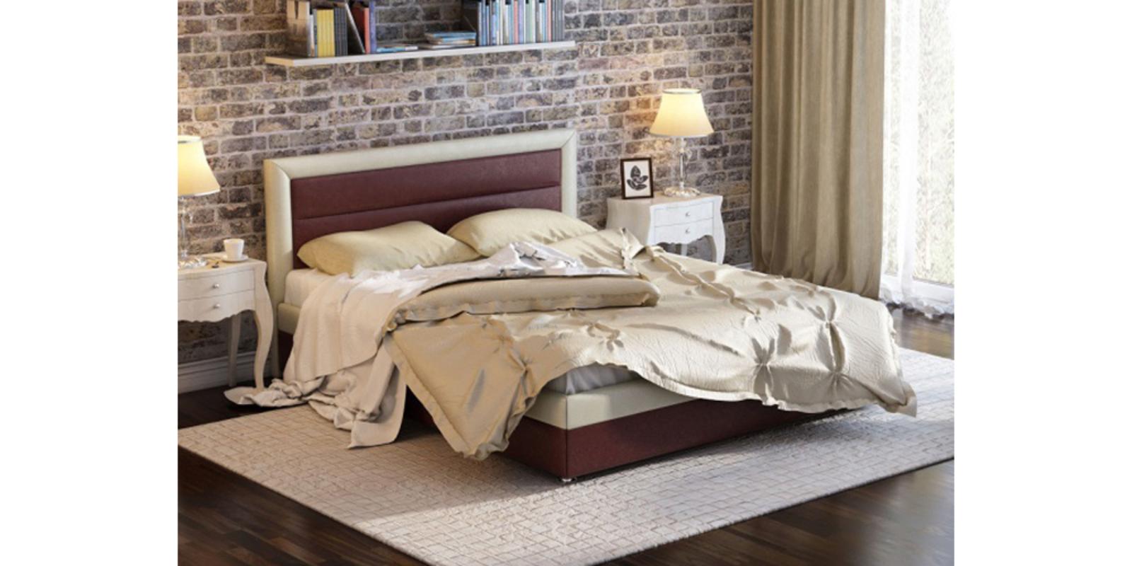 Кровать мягкая Тарбикс с подъемным механизмом (Коричневый/Бежевый) от HomeMe.ru