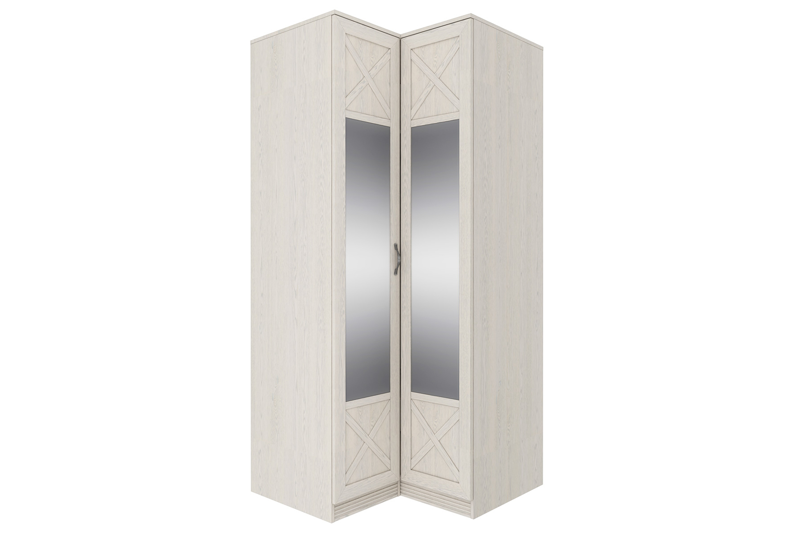 Шкаф распашной угловой Крит универсальный угол (дуб белый/зеркало)