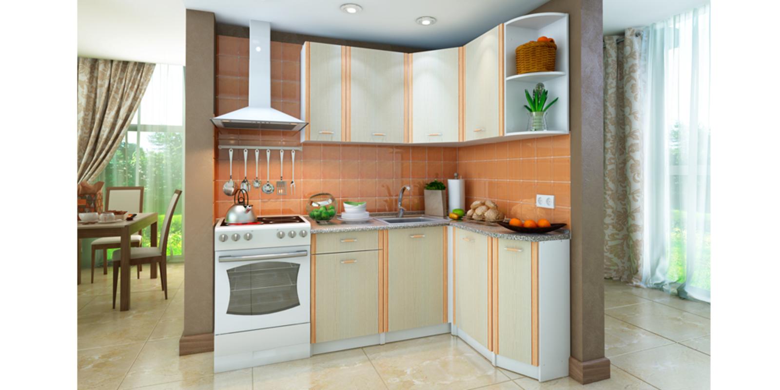 Кухонный гарнитур Лагуна правый угол (белый/дуб кремона)