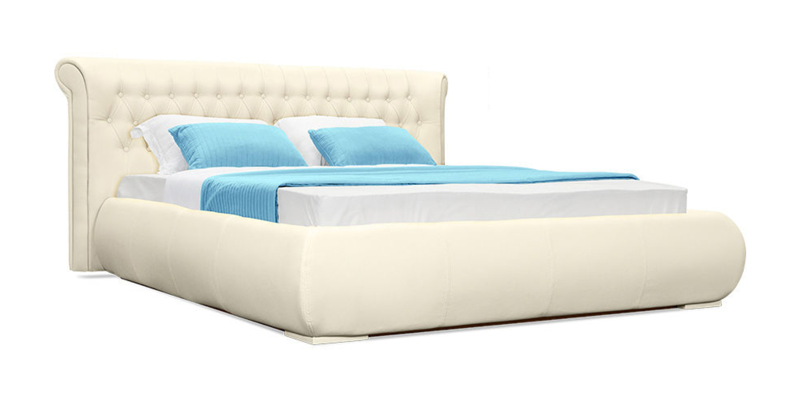 Кровать мягкая Вирджиния без подъемного механизма (молочный)