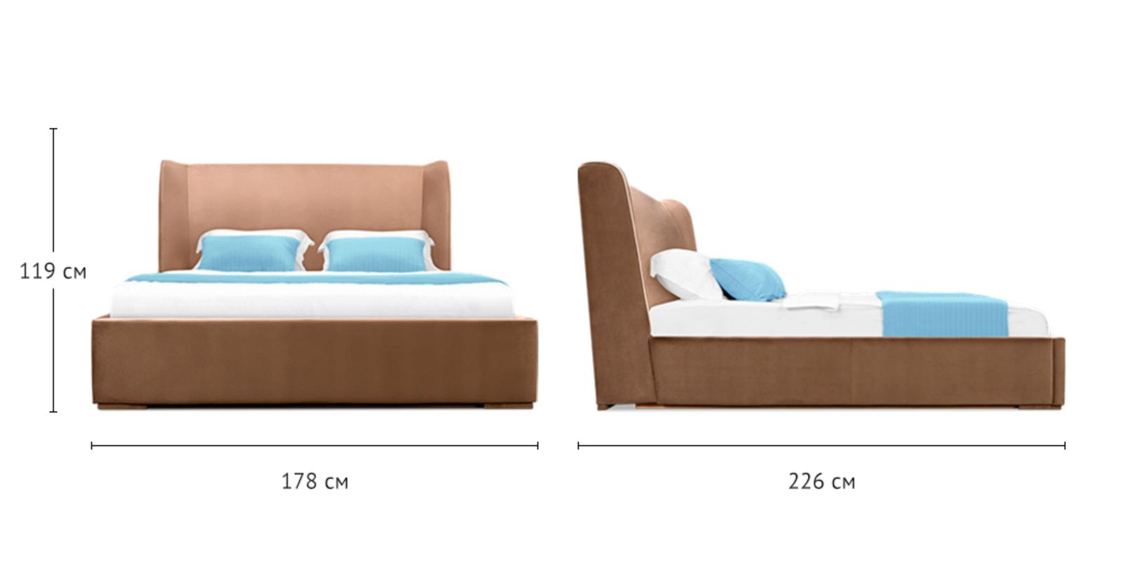 Кровать мягкая Марсель с подъемным механизмом (Velure коричневый) от HomeMe.ru