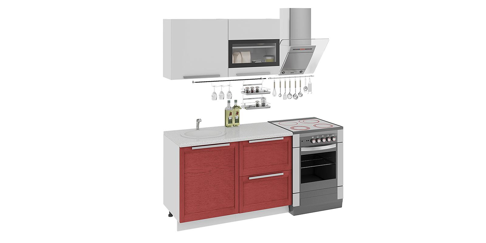 Кухонный гарнитур Моника 180 см (белый глянец/красный)