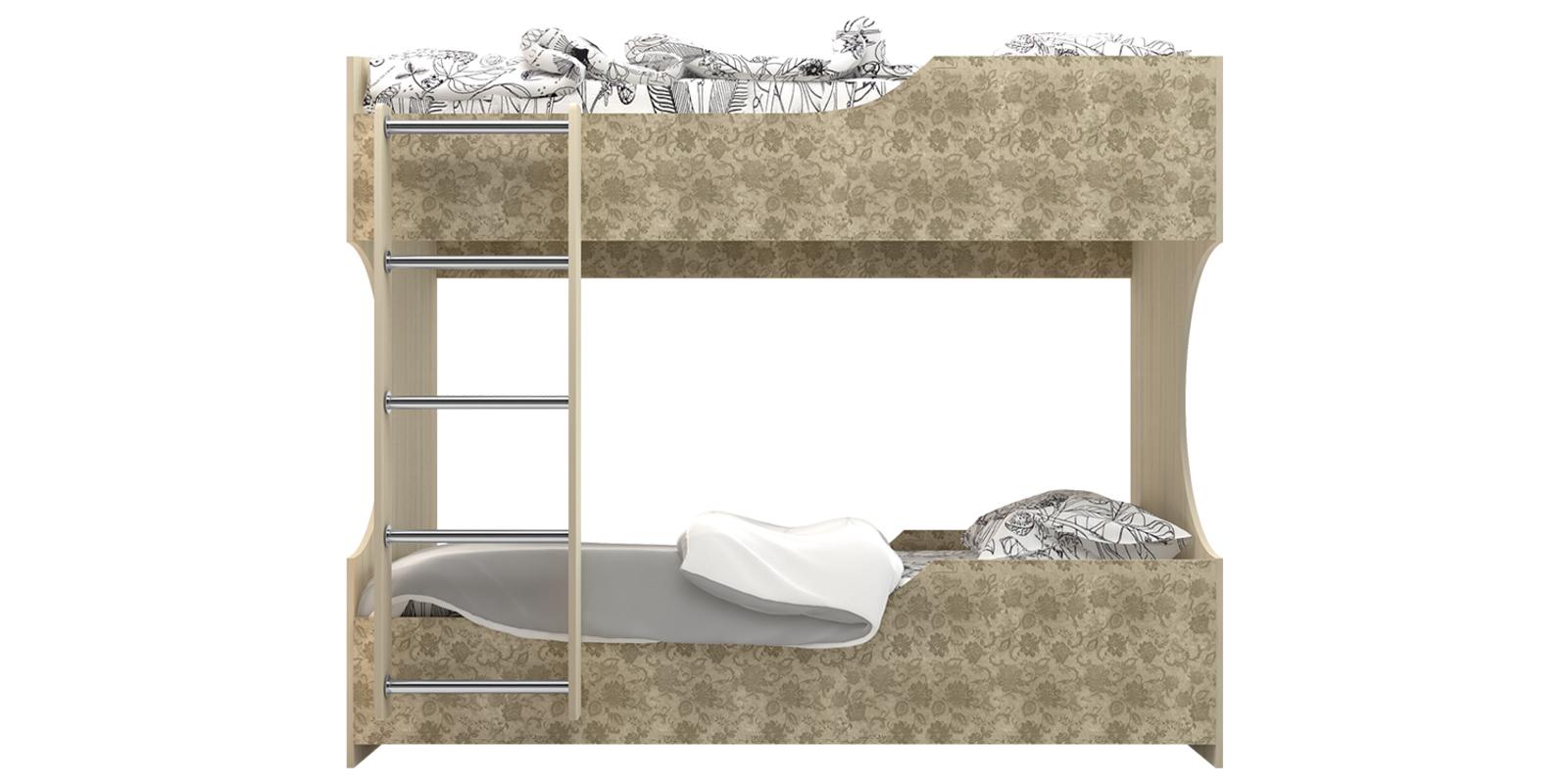Кровать двухъярусная 90х200 см Дениз без подъемного механизма (Дуб молочный/Мейсен ваниль) от HomeMe.ru