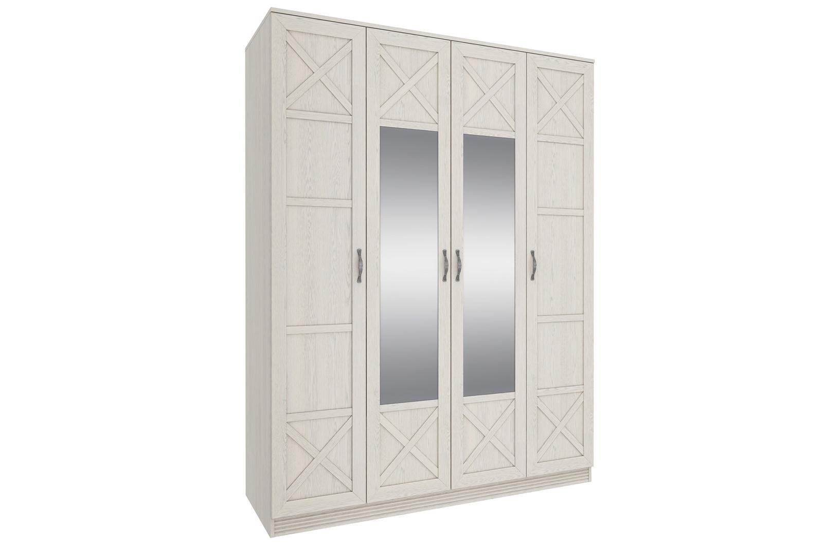 Шкаф распашной четырехдверный Крит (дуб белый/зеркало)