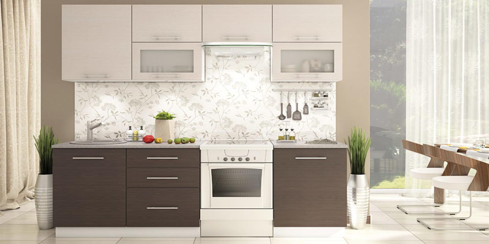 Кухонный гарнитур Капри (белый/дуб беленый/венге темный) от HomeMe.ru