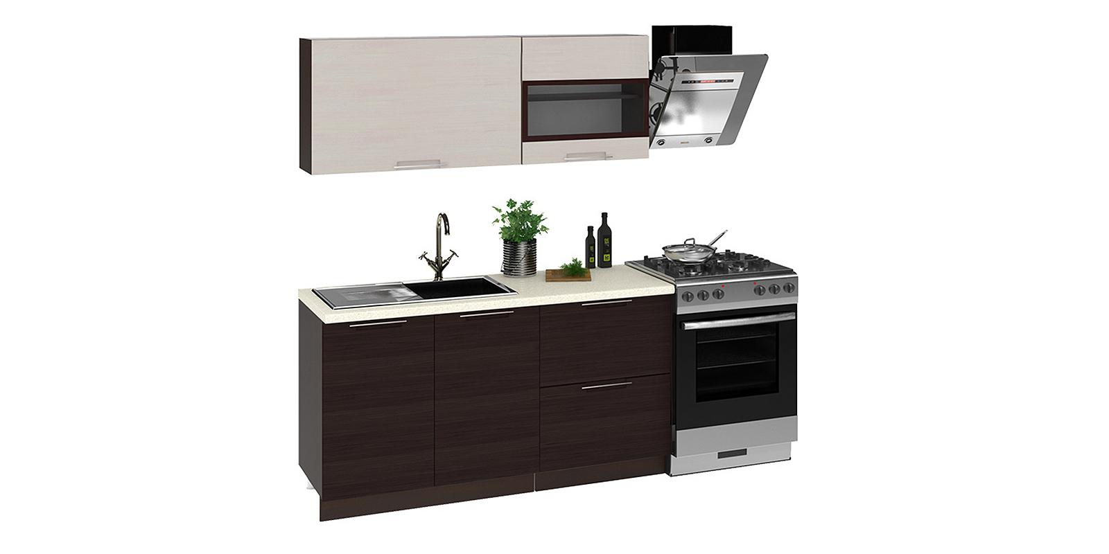 Кухонный гарнитур Мелани 210 см (коричневый)