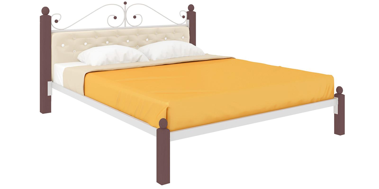 Кровать металлическая Монте Lux мягкая без подъемного механизма (белый)