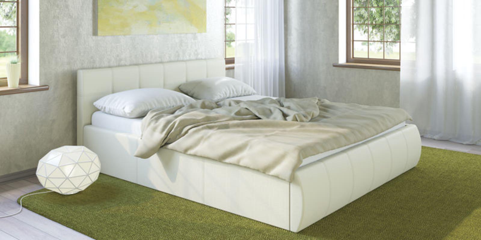 Кровать мягкая Афина с подъемным механизмом (Белый) от HomeMe.ru