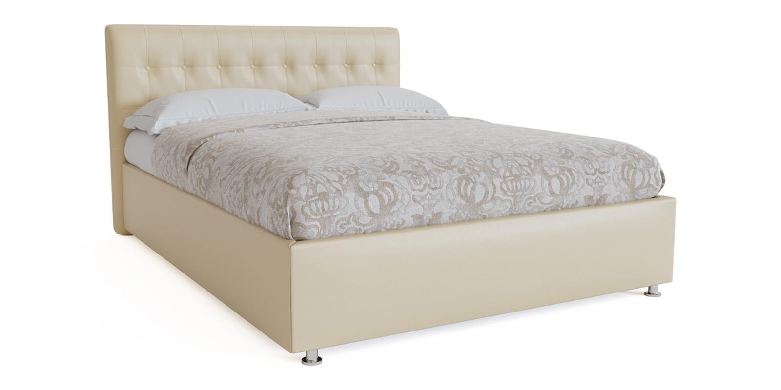 Мягкая кровать 200х160 Аделаида с подъемным механизмом (Крем-брюле)