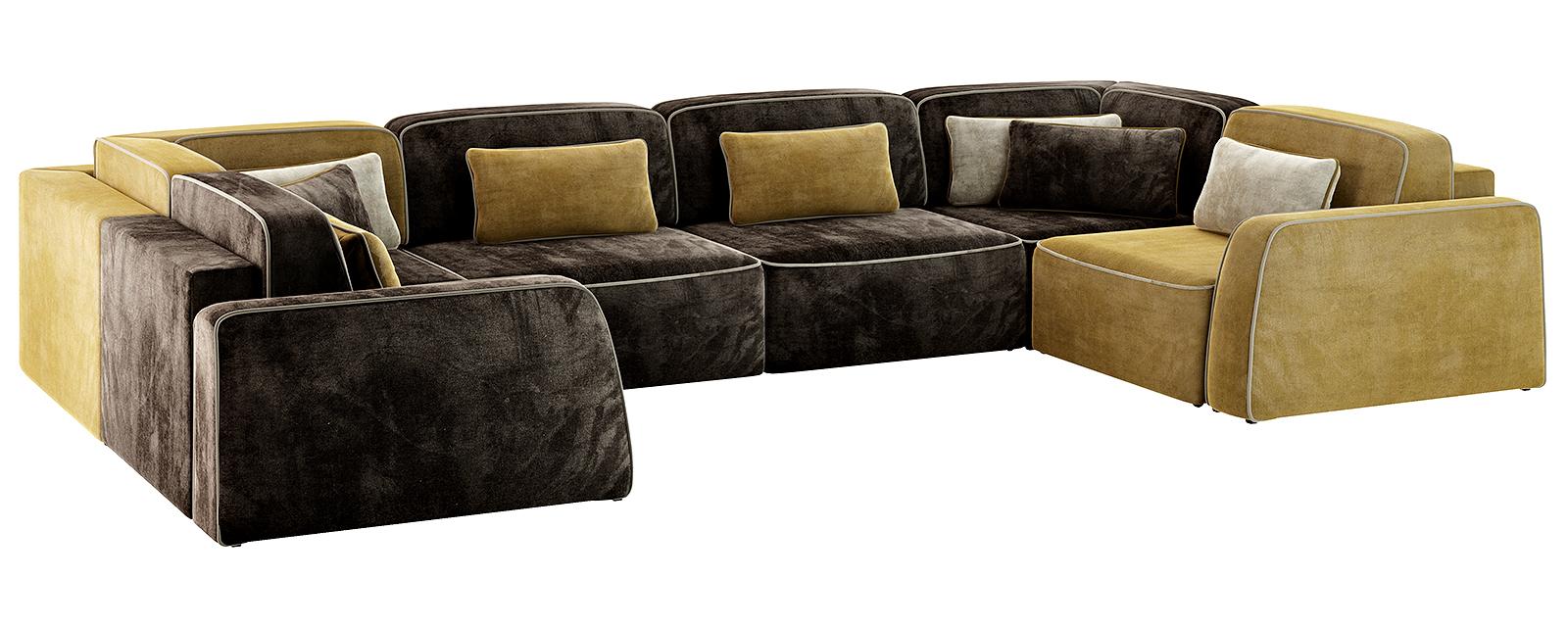 Модульный диван Портленд П-образный Вариант №2 Velure тёмно-коричневый/оливковый (Велюр)