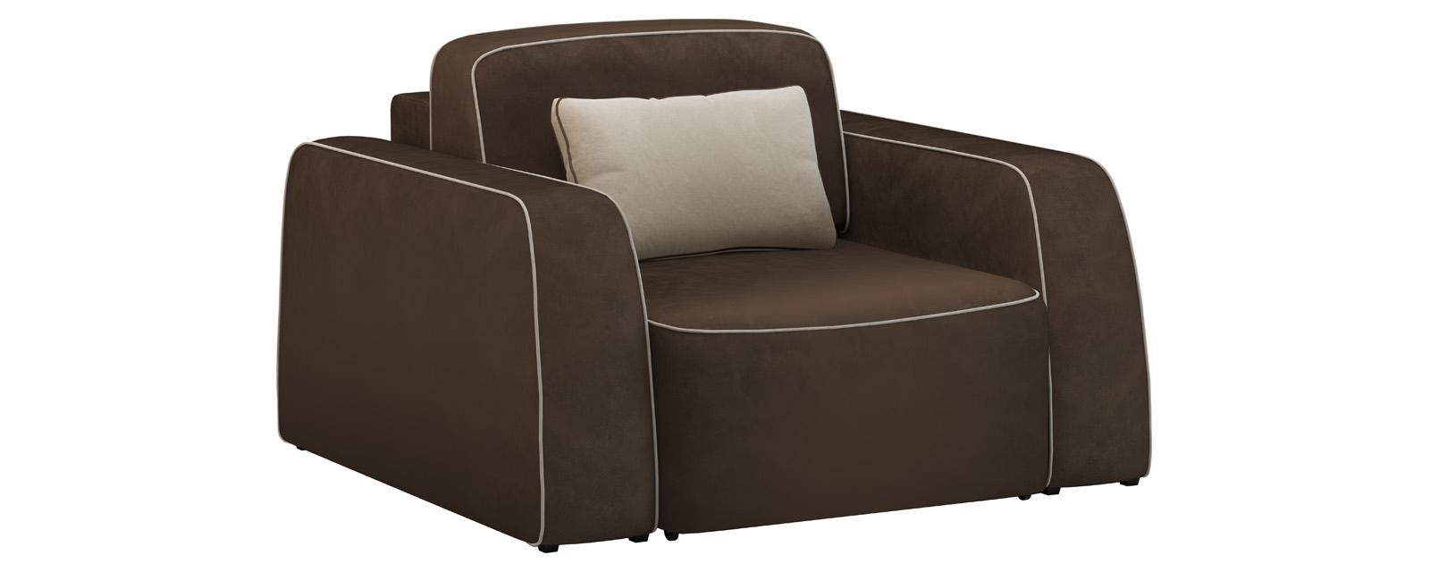 Кресло тканевое Портленд 80 см Velure темно-коричневый/бежевый (Велюр) от HomeMe.ru