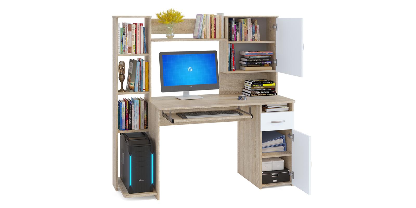 Стол компьютерный Поларис (дуб сонома/белый)