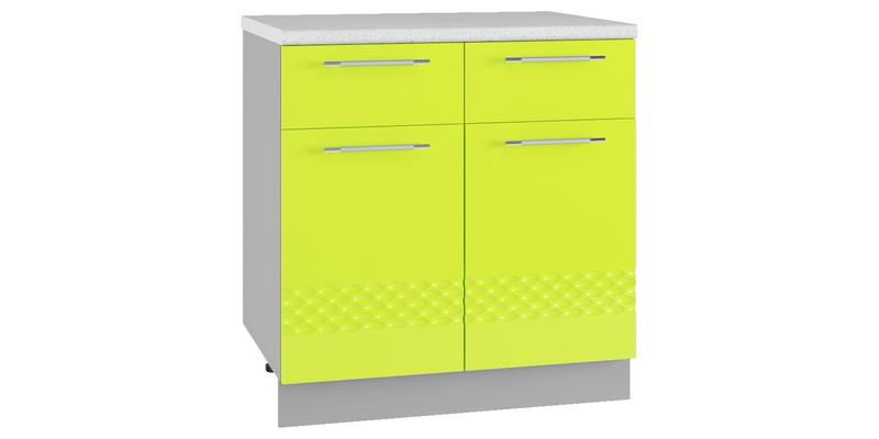 Кухонный напольный шкаф Тиара 80 см вариант №2 (серый/лайм глянец)
