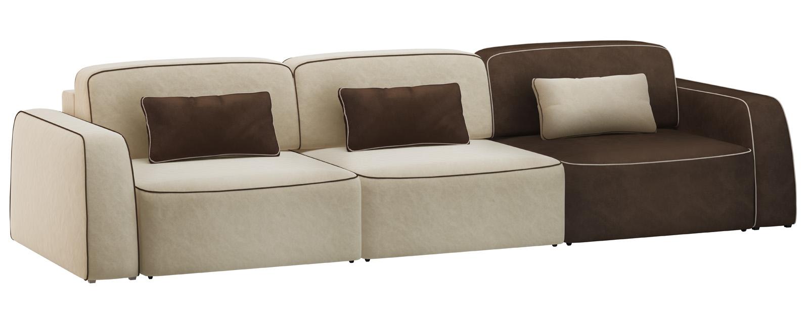 Модульный диван Портленд 300 см Вариант №3 Velure бежевый/темно-коричневый (Велюр)