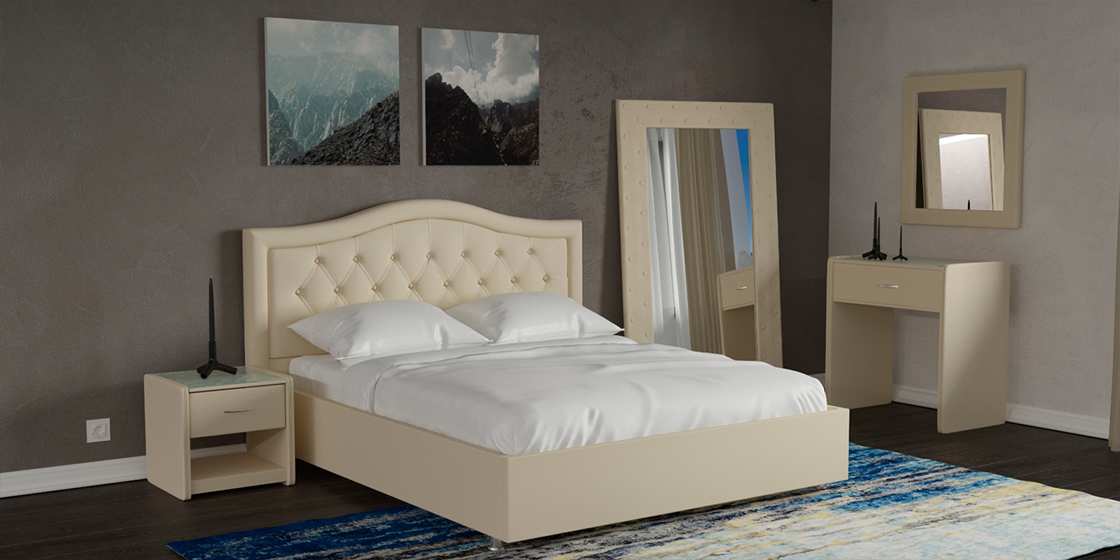 Купить Мягкая кровать 200х160 Малибу вариант №9 с ортопедическим основанием (Бежевый), HomeMe