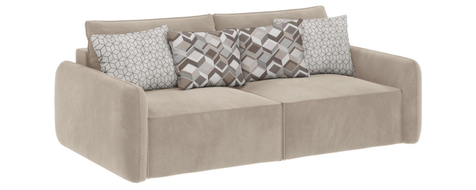 Модульный диван Портленд вариант №7 Soft светло-бежевый (Вел-флок)