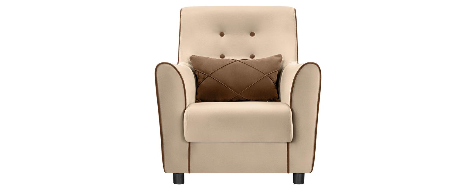 Кресло тканевое Флэтфорд Velure бежевый/коричневый (Велюр)
