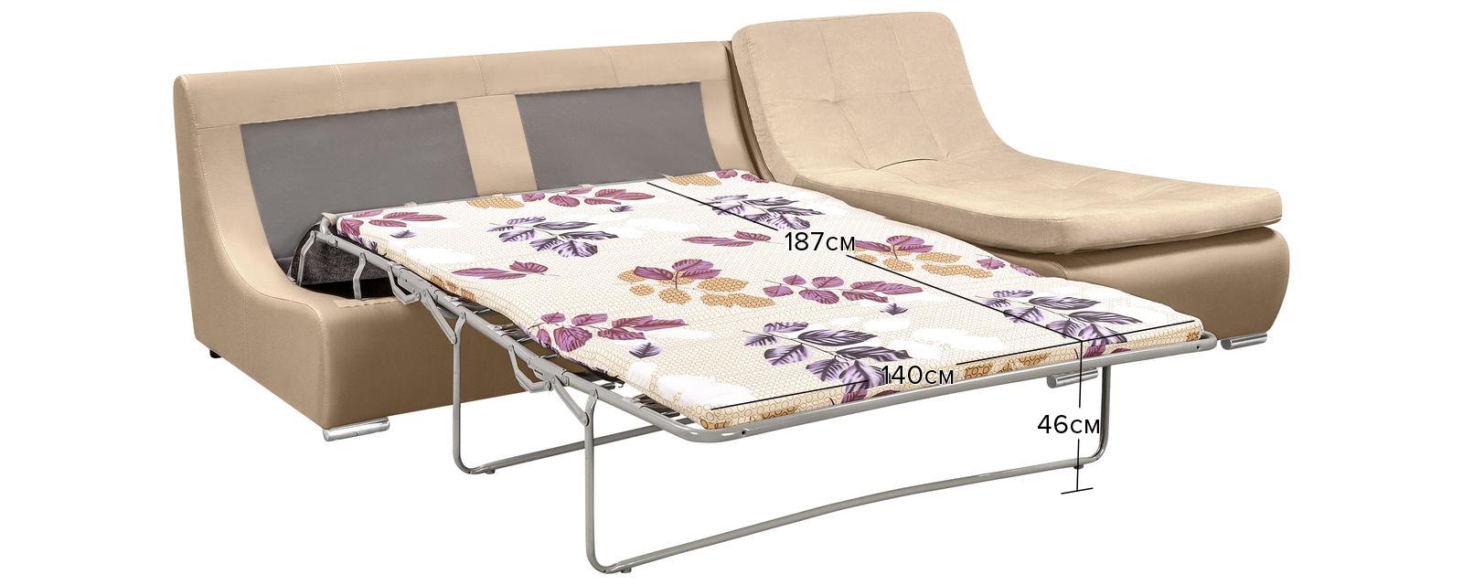 Модульный диван Лос-Анджелес Velure бежевый Вариант 1 (Велюр + Экокожа) от HomeMe.ru