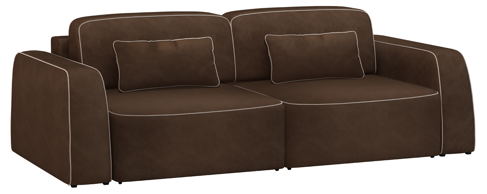 Модульный диван Портленд 200 см Вариант №3 Velure темно-коричневый/бежевый (Велюр)