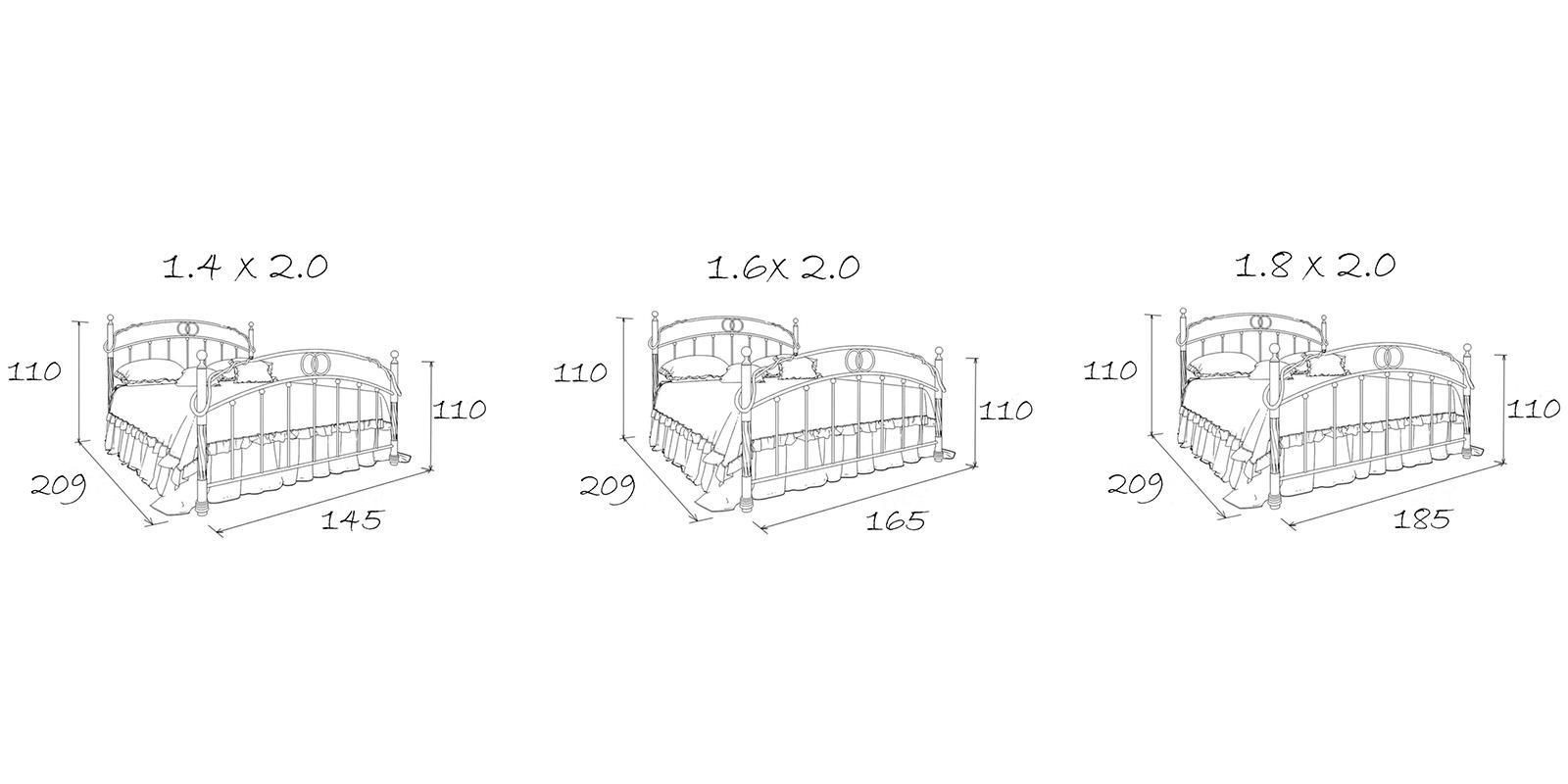 Металлическая кровать 180х200 Сандра с ортопедическим основанием (белый с золотом) S012/2-8