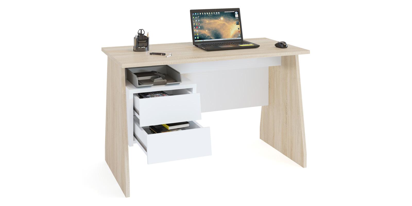 Стол компьютерный Савона (дуб сонома/белый)