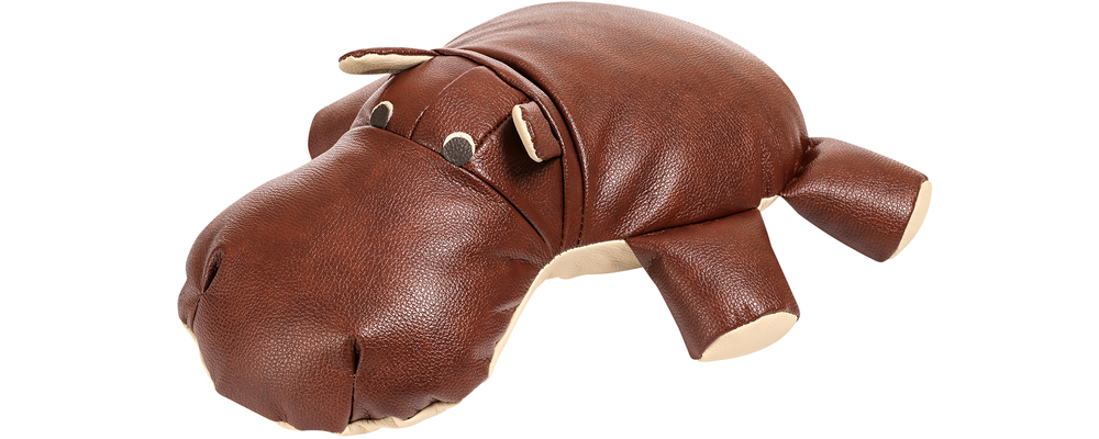 Декоративная подушка Бегемот Коричневый (Натуральная кожа)