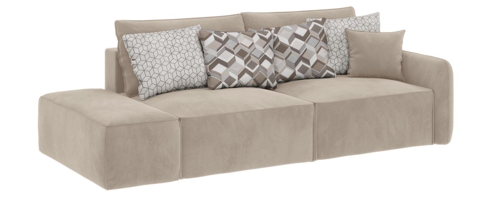 Модульный диван Портленд вариант №2 Soft светло-бежевый (Вел-флок, правый)