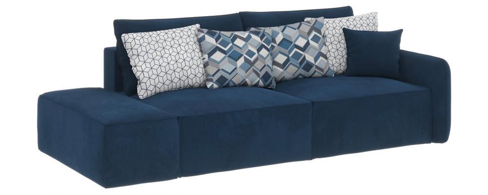 Модульный диван Портленд вариант №2 Soft тёмно-синий (Вел-флок)