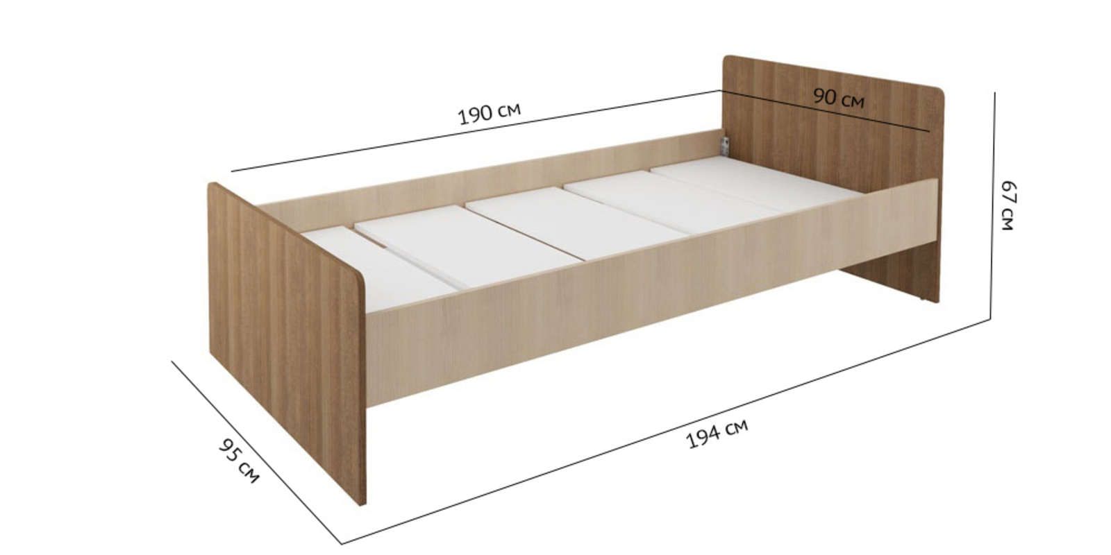 Кровать односпальная Лакки без подъемного механизма (дуб кремона/ясень кассино)