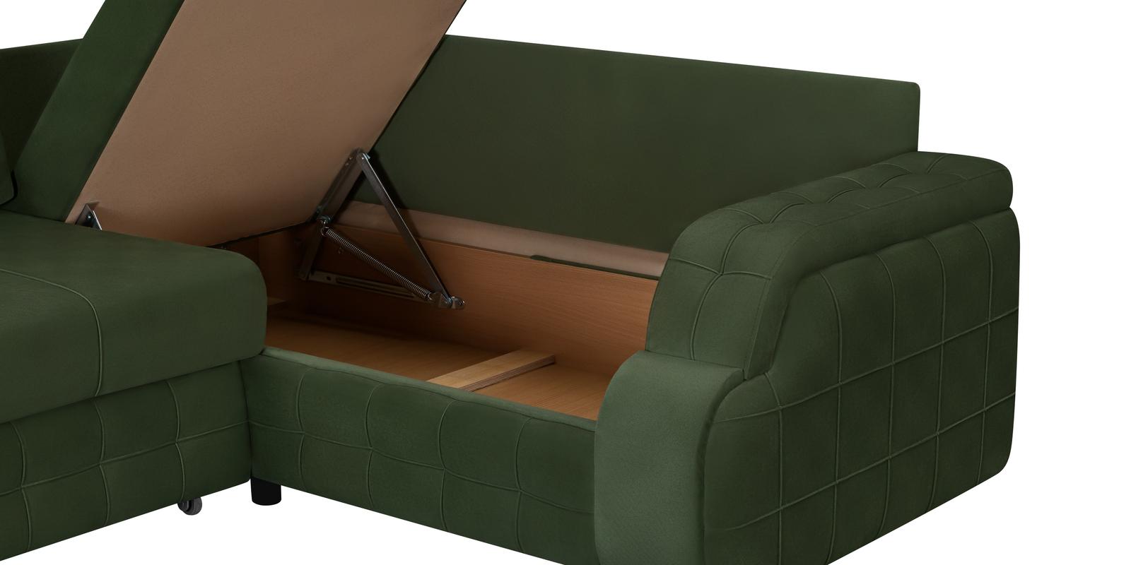 Диван тканевый угловой Николь Maserati зеленый (Велюр)