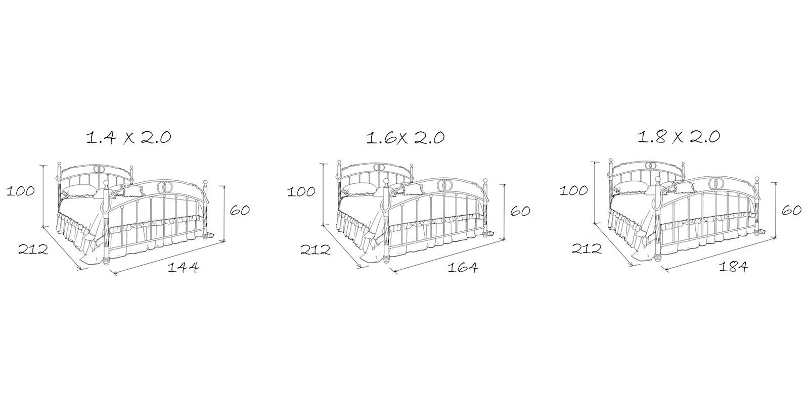 Металлическая кровать 140х200 Аристо с ортопедическим основанием (черный) S001/1-4