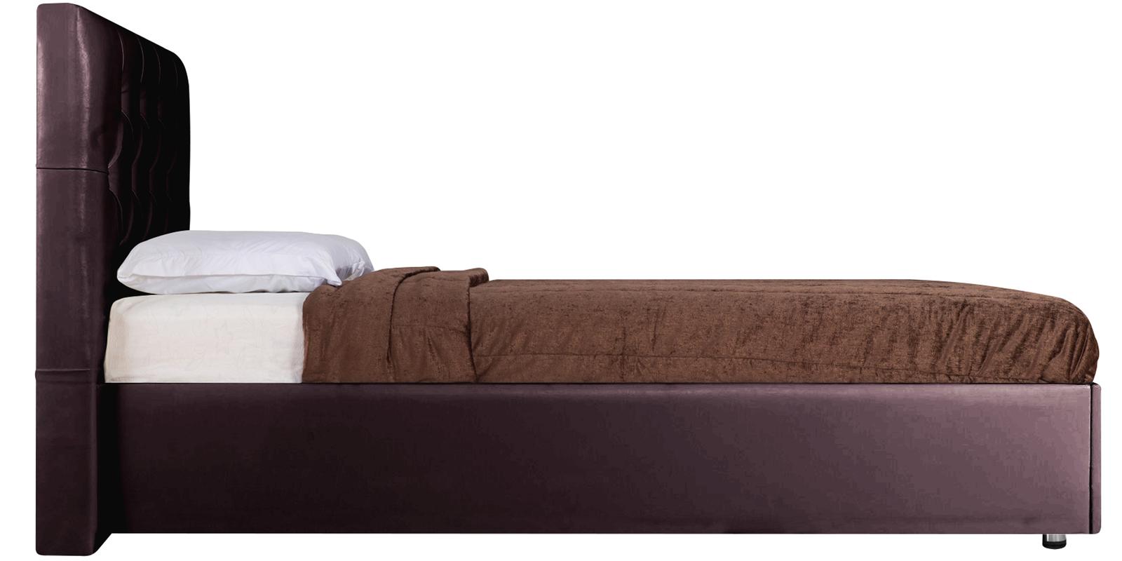 Мягкая кровать 200х160 Малибу вариант №2 с ортопедическим основанием (Шоколад)