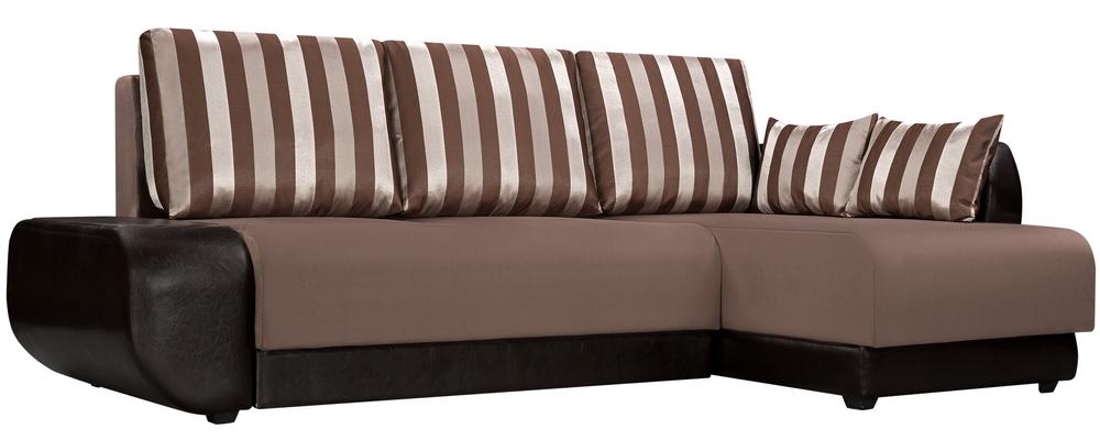 Диван тканевый угловой Нью-Йорк Stripe коричневый (Велюр + Экокожа)