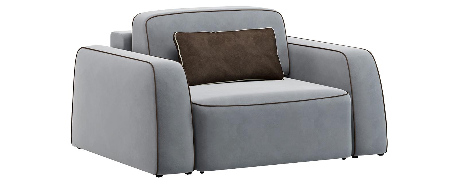 Кресло тканевое Портленд 100 см Velutto серый/темно-коричневый (Велюр) от HomeMe.ru