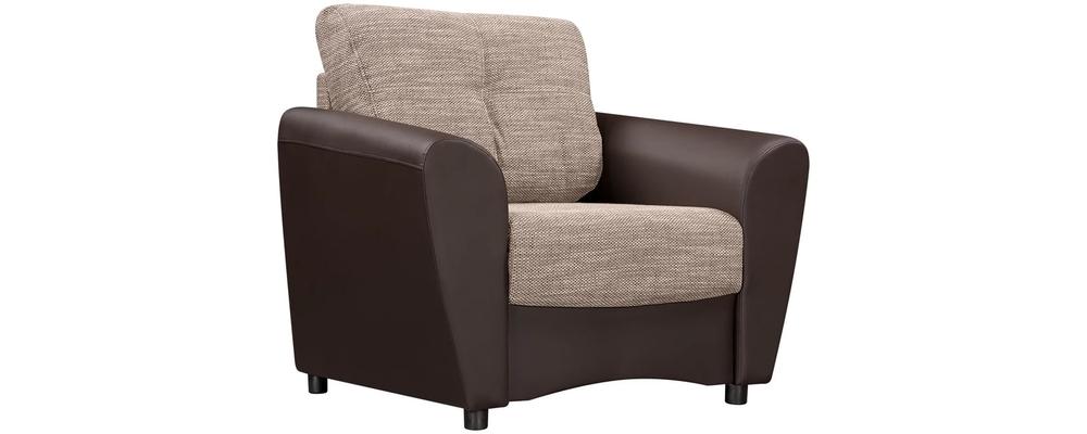 Кресло тканевое Амстердам Sola коричневый (Рогожка + Экокожа)