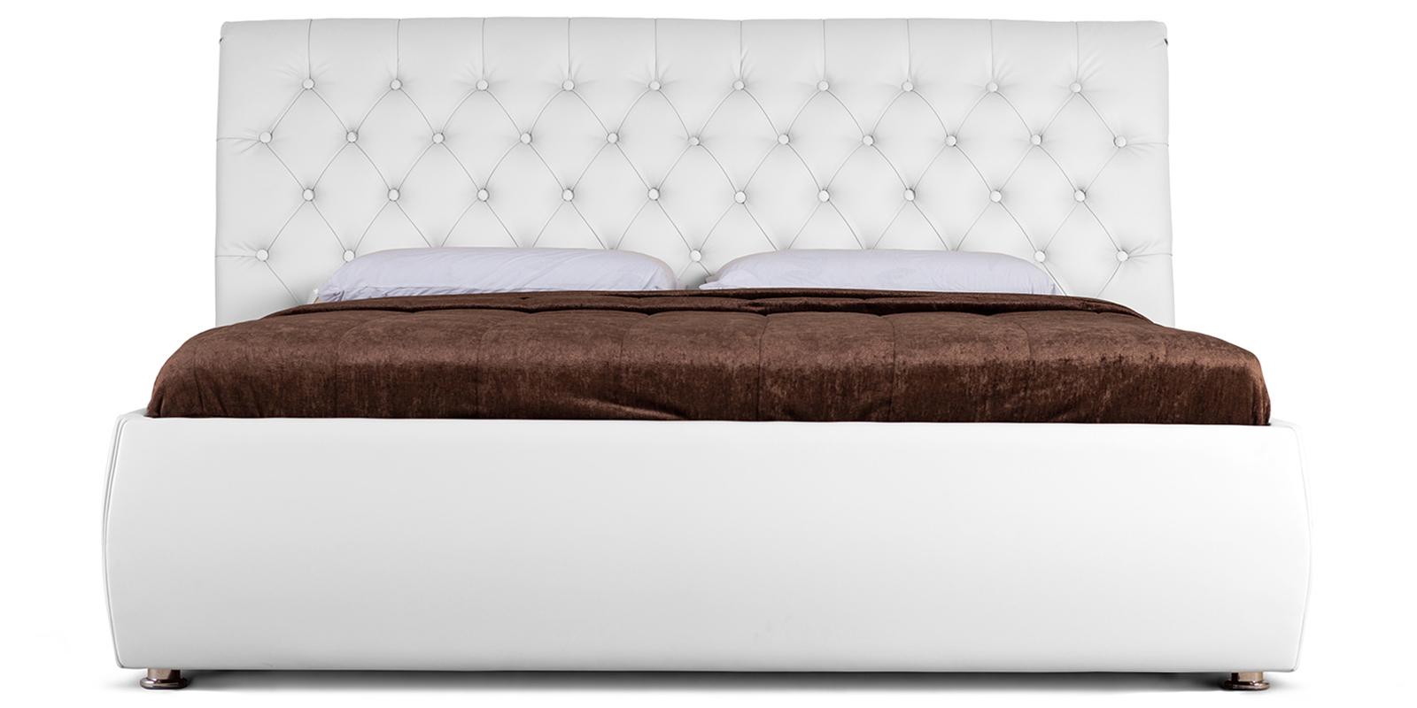Мягкая кровать 200х160 Малибу вариант №6 с подъемным механизмом (Белый)