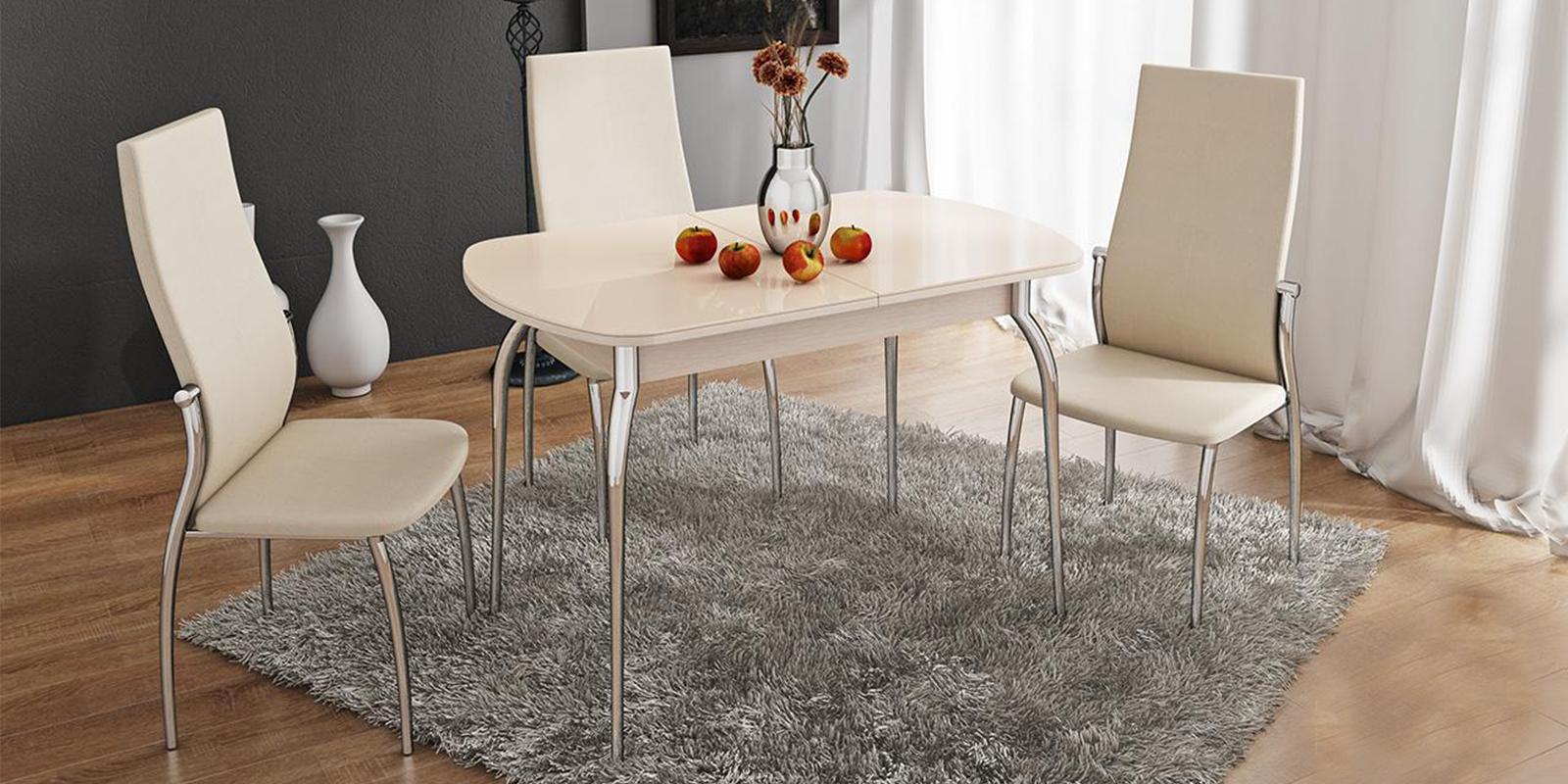 Обеденный стол Квартет (дуб белфорт/стекло бежевое) Квартет