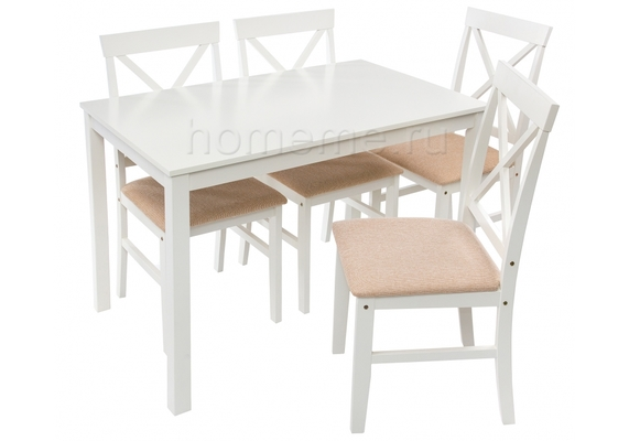 Обеденная группа Chili стол и 4 стула, белый/бежевый (1846)