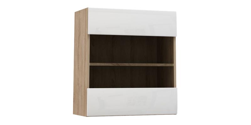 Шкаф навесной Верона Люкс со стеклом 60 см вариант №1 (дуб сонома/белый глянец)