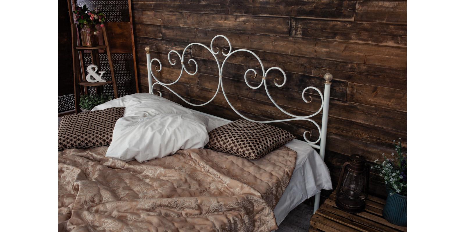 Металлическая кровать 160х200 Флоренция с ортопедическим основанием (белый с золотом) S014/1-6