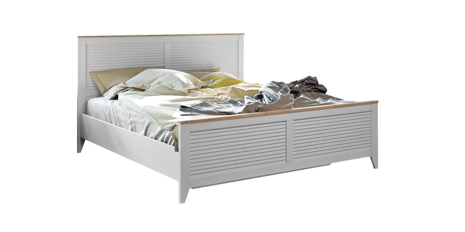 Кровать каркасная 200х160 Мерида без подъемного механизма (дуб бежевый/белый)
