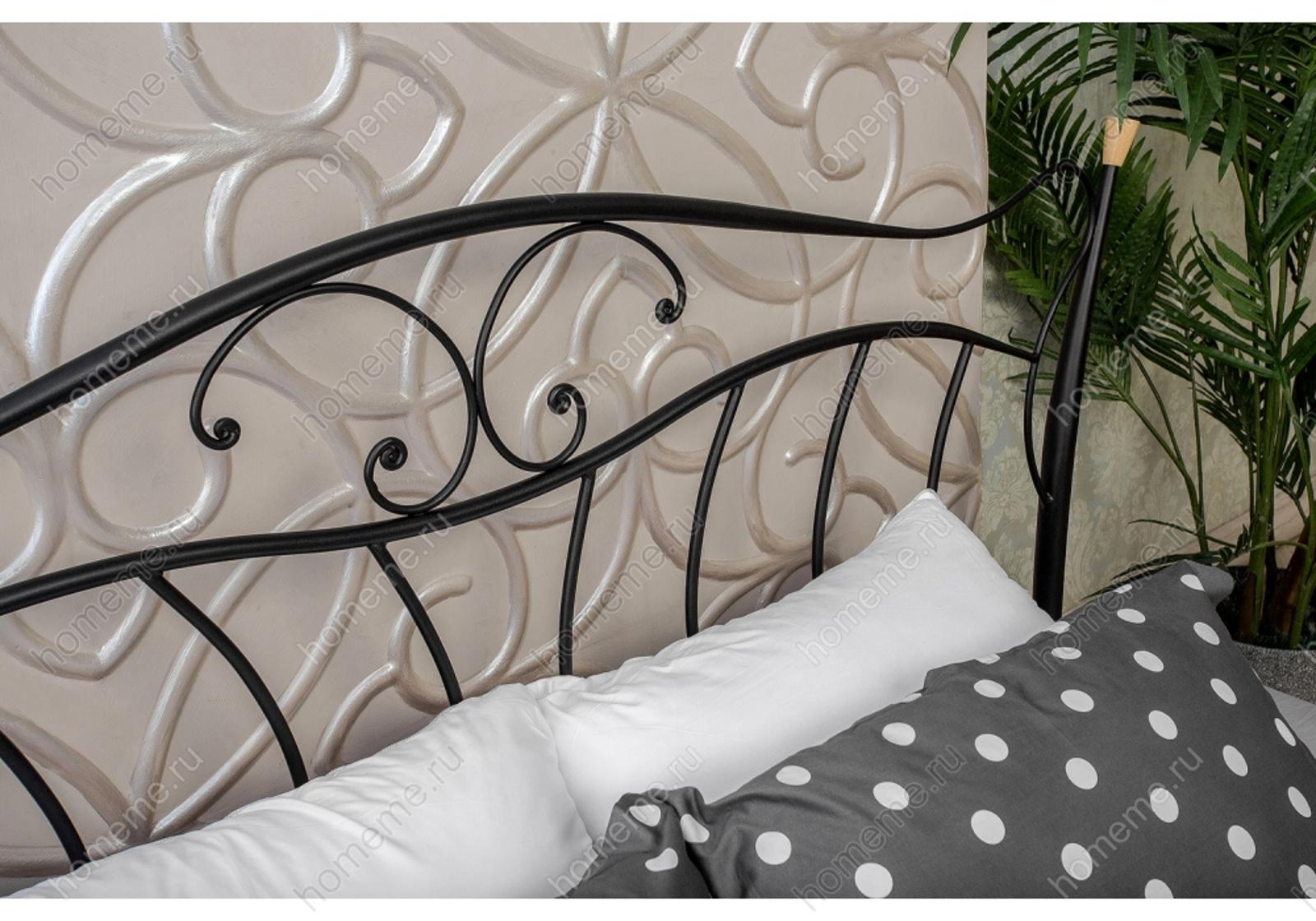 Кровать Mila с деревянными ламелями 200х160, черный (1571)