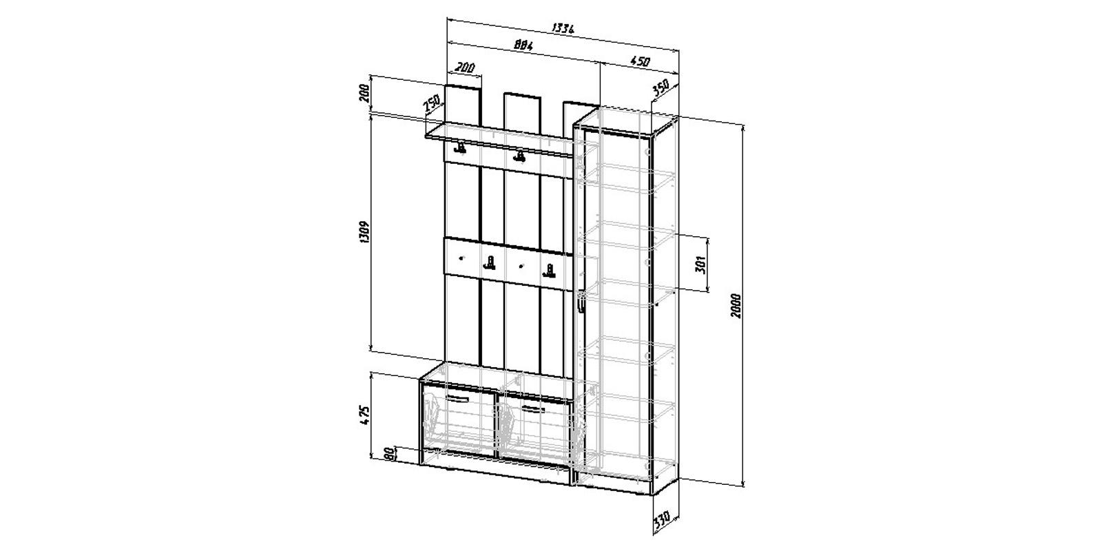 Модульная система Хельга вариант №3 (белый)