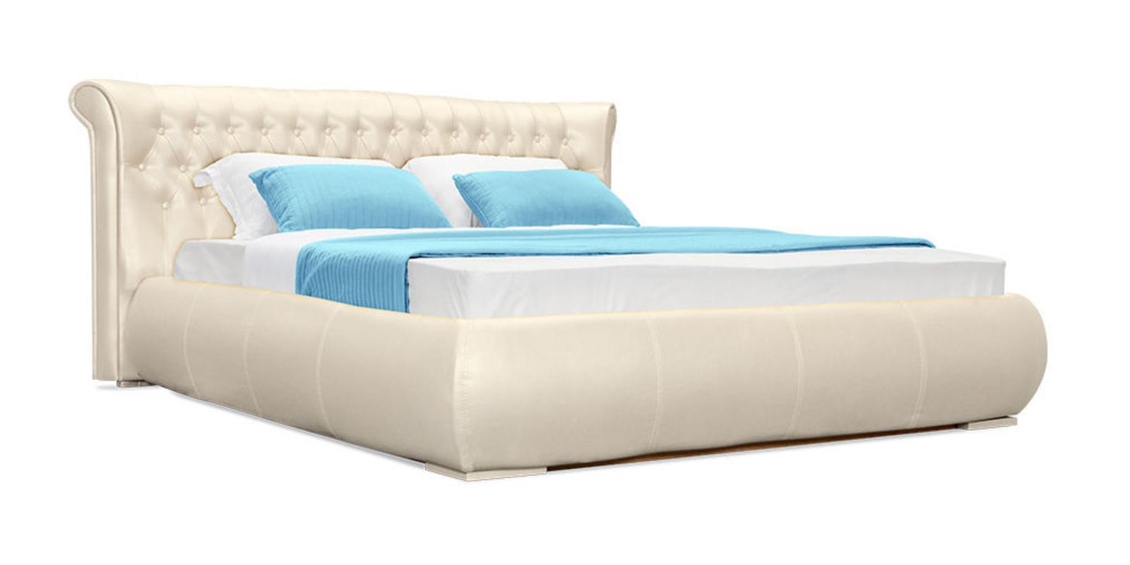 Кровать мягкая Вирджиния без подъемного механизма (Перламутр)