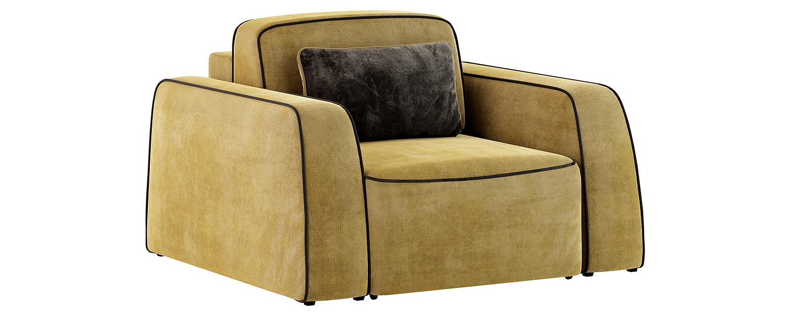Кресло тканевое Портленд 80 см Velure оливковый/тёмно-коричневый (Велюр) от HomeMe.ru